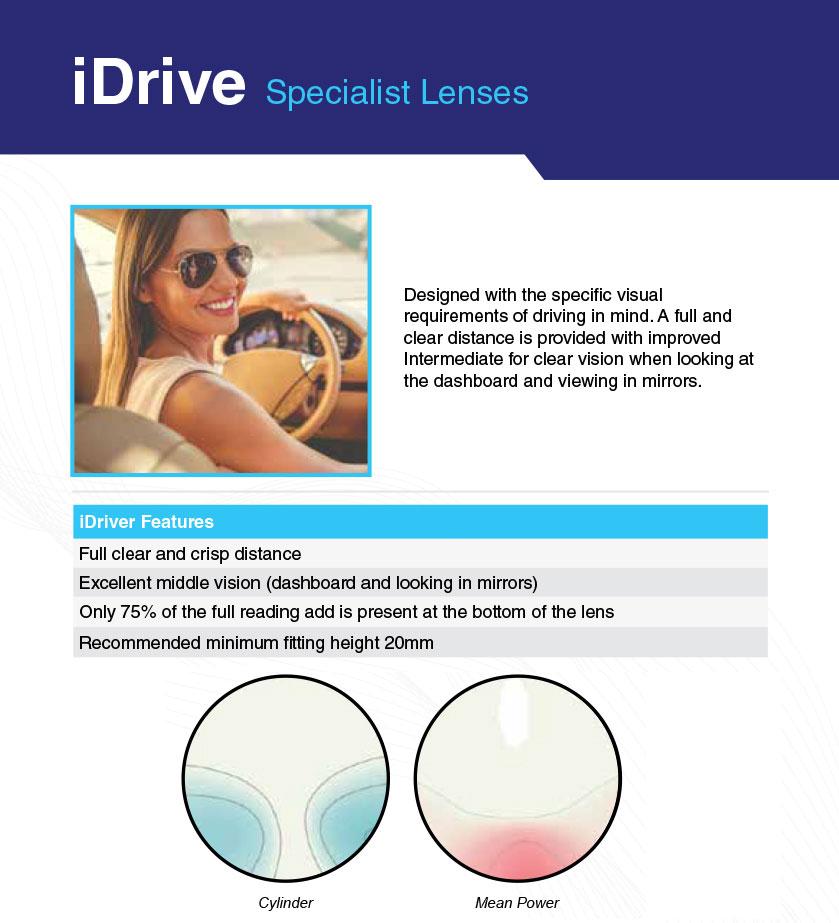 female driver wearing iDrive lenses